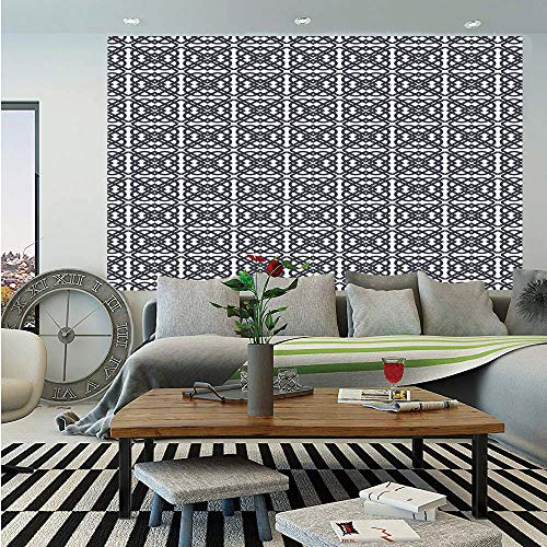 SoSung Geometric Huge Photo Wall Mural,Diagonal Stripes Crosswise with Floral and Geometric European Motifs Decorative,Self-Adhesive Large Wallpaper for Home Decor 108x152 inches,Charcoal Grey White