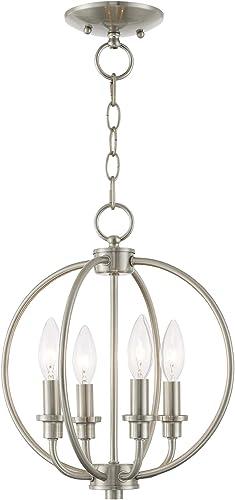 Livex Lighting 4664-91 Milania 4 Light Convertible Hanging Lantern Ceiling Mount, Brushed Nickel