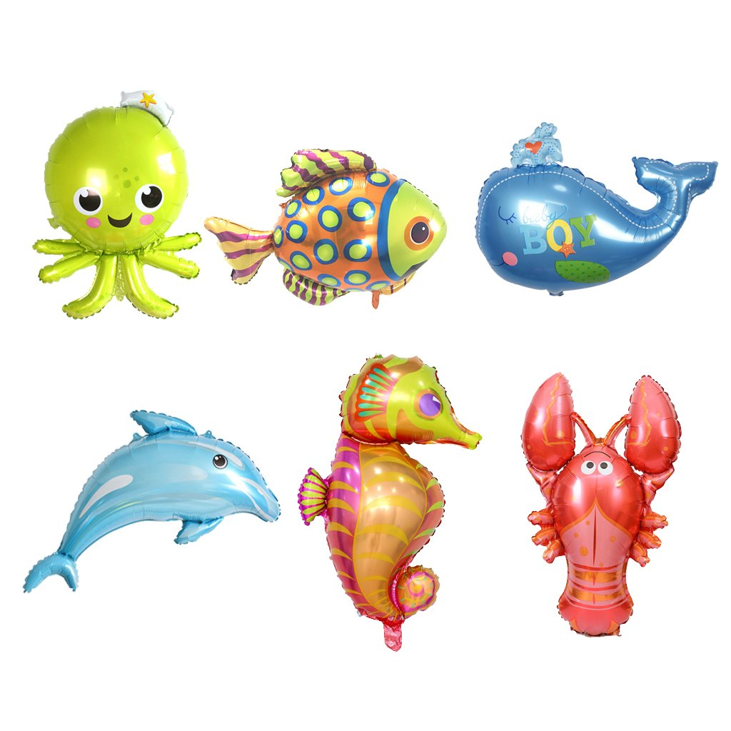Homyl Pack of 6 Lovely Sea Animal Foil Balloon Dolphin Octopus Lobster Whale Fish Party Decor
