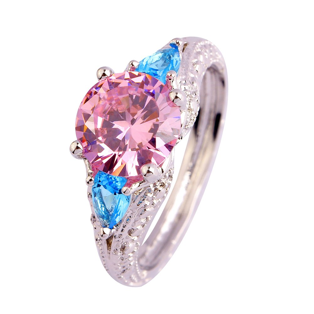 Psiroy Women's 925 Sterling Silver Created Pink Topaz Filled Soliatire Anniversary Ring Size 9
