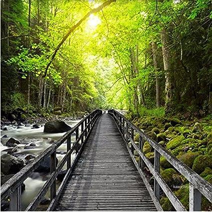 Wapel 3d Large Wallpaper Hd Beautiful Wooden Bridge Creek Forest