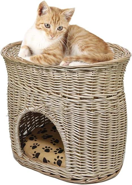 Wicker Two Tier Cat House Basket