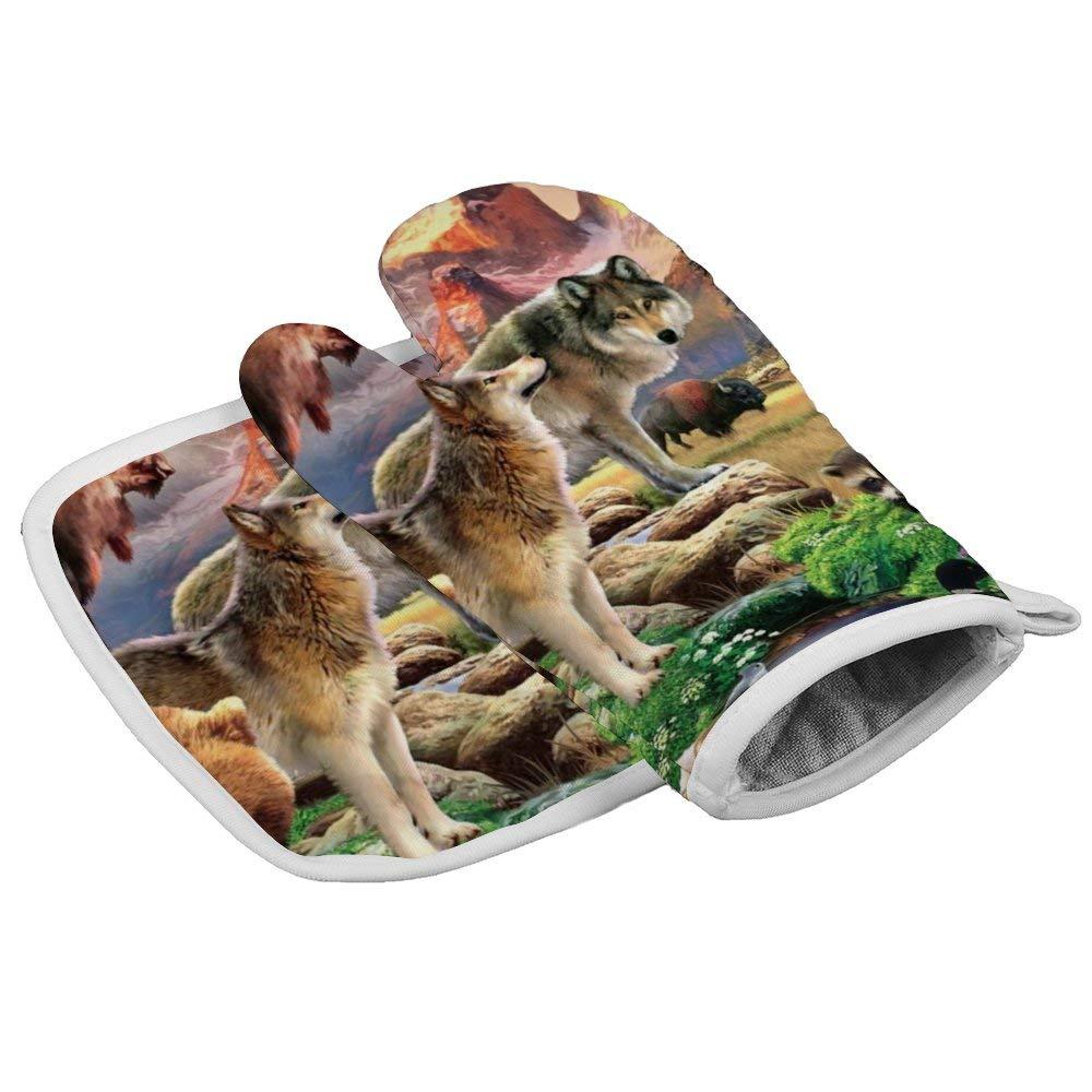 LELEMATE Heat Resistant Kitchen Pot Holder and Oven Mitt Set Oven Glove and Potholder Perfect for Kitchen Baking BBQ, Animals Together Bison Deer Elk Wolves Bear Eagle