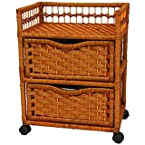 Oriental Furniture 23'' Natural Fiber Chest of Drawers on Wheels - Honey