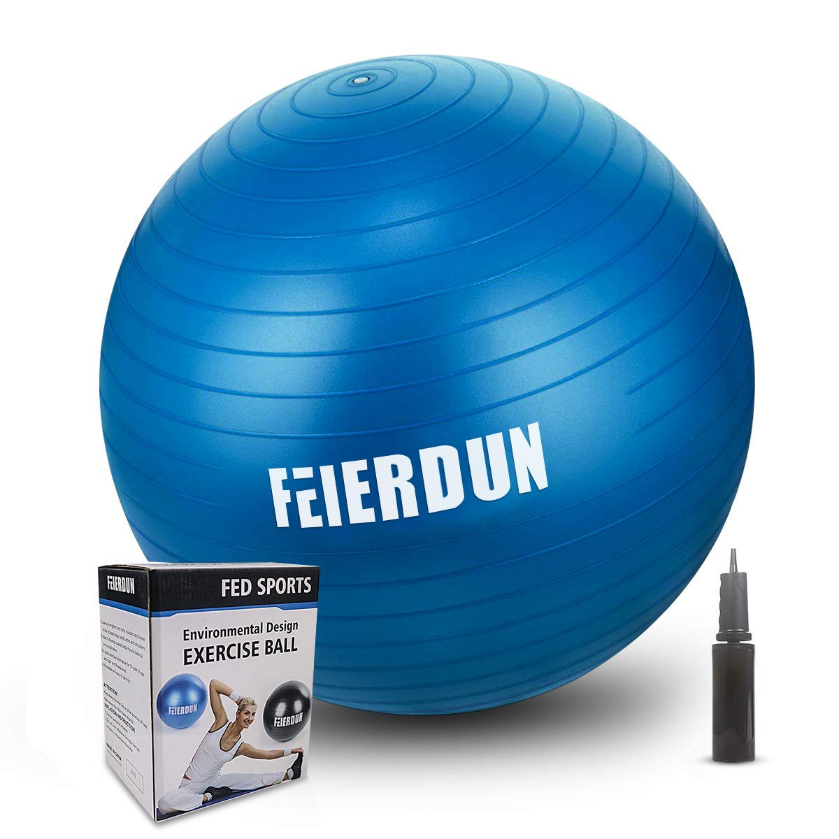 FEIERDUN Fitness Health Exercise Ball, Heavy Duty Birthing Ball Anti-Burst Slip Yoga Ball with Quick Pump for Office Home Gym Abdominal Training