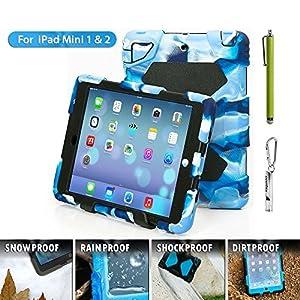 iPad Mini Case, Aceguarder®iPad Mini 3 2 1 Case Kids Proof Waterproof Rainproof Shockproof Silicone Cover for iPad Mini 1 & iPad Mini 2 & iPad Mini 3(NAVY-BLACK)