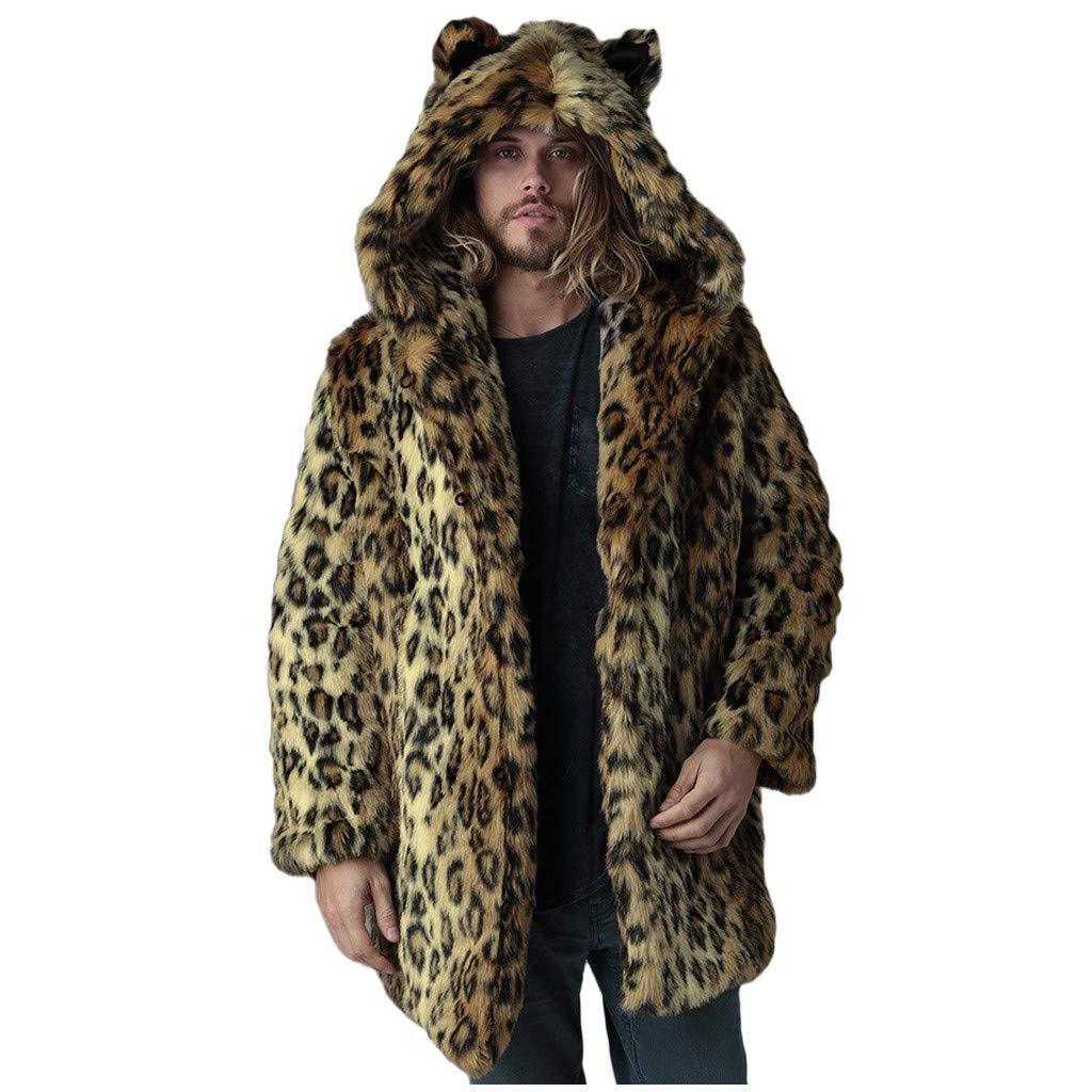Faux Fur Parka Outwear Fashion Mens Warm Thick Coat Jacket Wolf Ear Cardigan Soft Plush Overcoat Winter Fleece Robe by Vintress