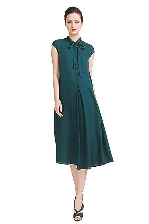 98bc29d83a24 VOA Women s Dark Green Jacquard Short Sleeve Silk Midi Dress with ...
