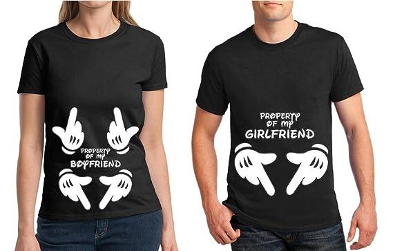 e645826761 Awkward Styles Matching Couple Shirt Property of My Boyfriend & Girlfriend T -Shirt Black Men