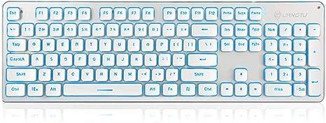 OUKB Teclado inalámbrico Recargable Computadora de Escritorio Computadora portátil Juego de Oficina en casa Retroiluminación Panel de aleación (Color ...