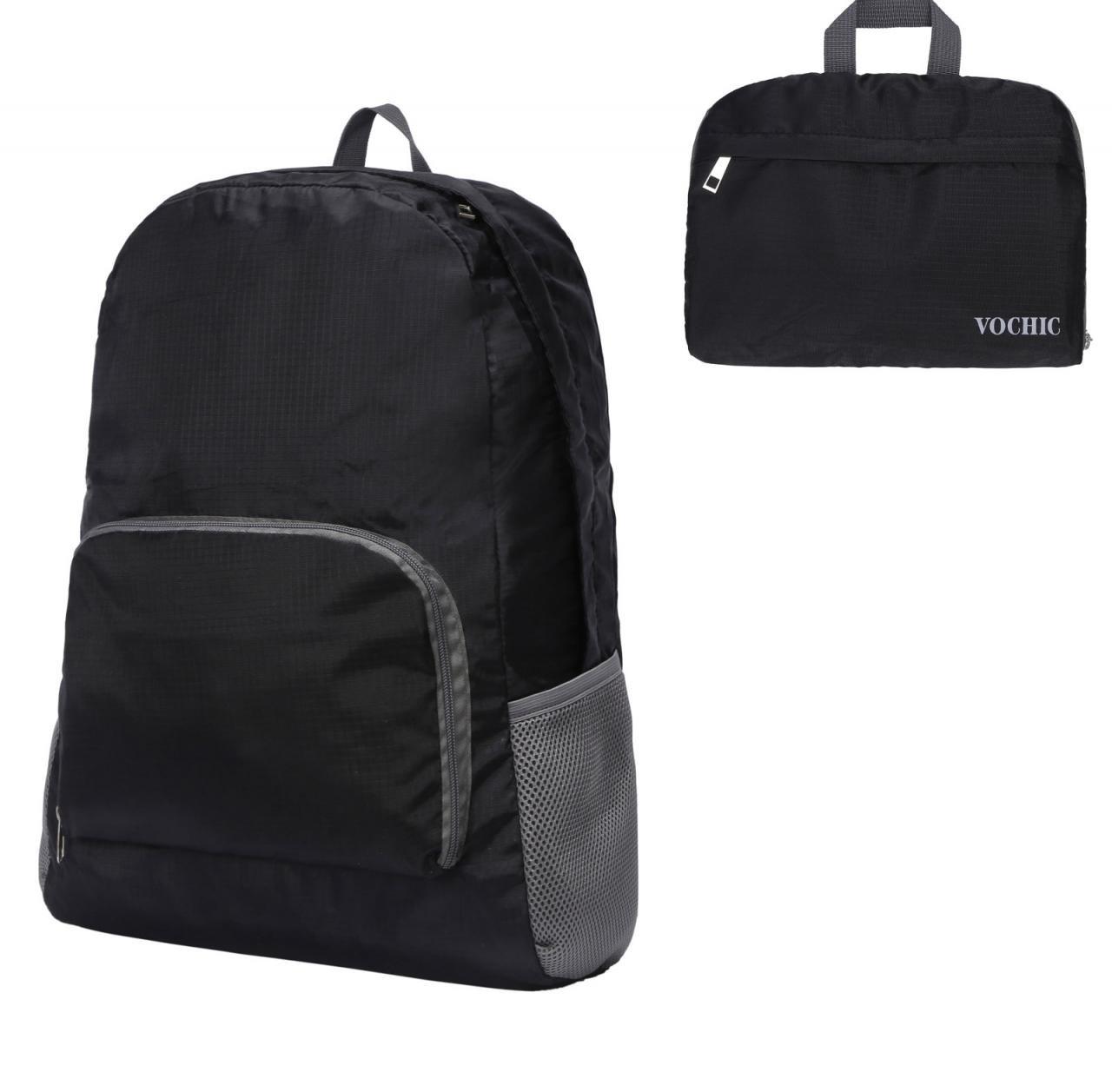 20l軽量Packableバックパック防水折りたたみ式旅行ハイキング用デイパック B06XC53JZG ブラック
