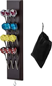 Viper Dart Caddy Solid Wood Wall Mounted Dart Holder/Stand with Accessory Storage Bag, Displays 4 Sets of Steel/Soft Tip Darts, Compatible with All Sisal & Electronic Dartboards, Surrounds & Cabinets