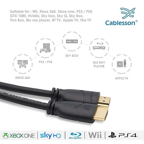 Cablesson Basics - Cable HDMI de alta velocidad (Ethernet, conectores dorados HDMI, compatible con full HD, 1080P, 2160p, televisores de LCD de pantalla plana y LED, televisores en 3D y TrueHD): Amazon.es:
