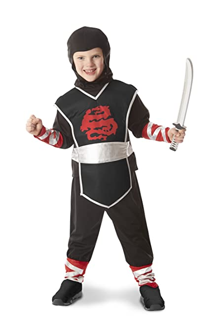 Melissa & Doug Ninja Role Play Costume Set (4 pcs) - Tunic, Pants, Hood, Soft Sword