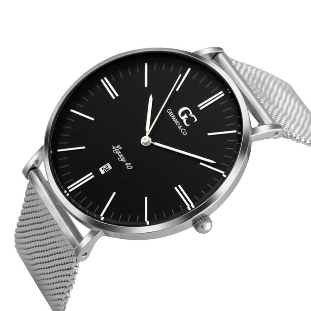 Gelfand Co Unisex Minimalist Watch Silver Mesh Band Casio Ltp 1378l 2e Women Quartz Blue Duane 40mm With Black Dial Watches