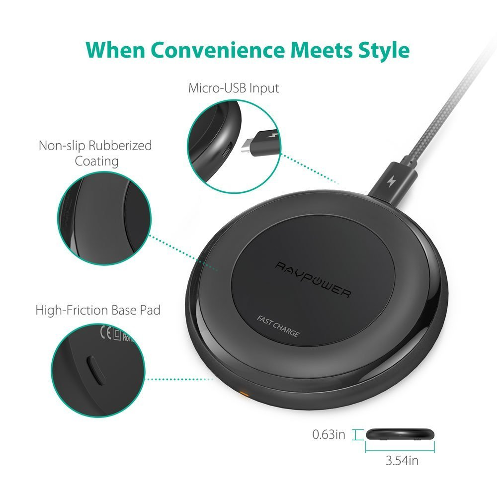 Fast Wireless Charger RAVPower 7.5W Compatible iPhone Xs MAX/XR/XS/X/8/8 Plus, with HyperAir, 10W Compatible Galaxy S9, S9+, S8, S7 & Note 8 and All Qi-enabled Devices (QC 3.0 Adapter Included) by RAVPower (Image #2)