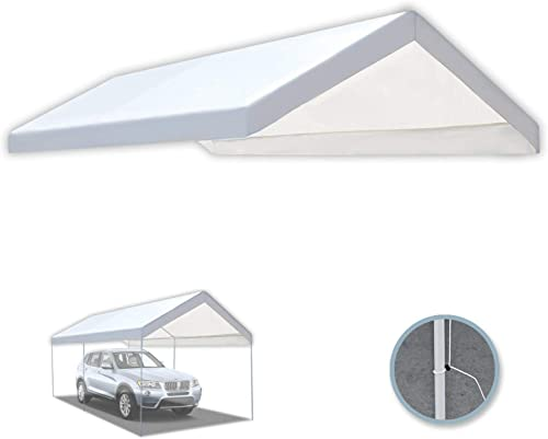 BenefitUSA 10 x20 Carport Replacement Canopy Tent Garage Top Tarp Shelter Cover w Cable Ties with Edge