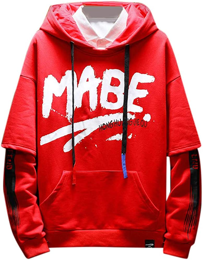 Mnyycxen Plus Size Men Casual Solid Color Letter Print Fake Two Piece Hoodies Drawstring Sweatshirt with Pocket