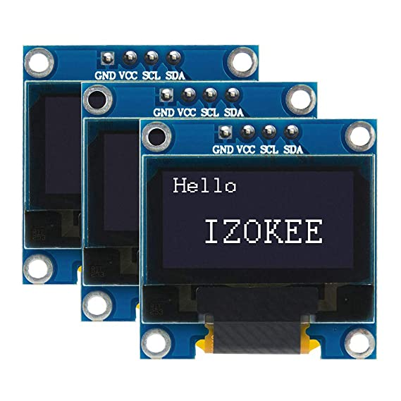 IZOKEE 0 96'' I2C IIC 12864 128X64 Pixel OLED LCD Display Shield Board  Module SSD1306 Chip 4 Pin for Arduino Display Raspberry Pi 51 Msp420 Stim32  SCR