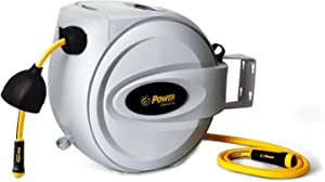 "Power Retractable Hose Reel 5/8"" x 75 + 6 FT, Super Heavy Duty, 500 PSI Burst Strength, 3 Layer Hybrid Hose, Slow Return System, Exclusive Twist Collar and The Patented Nozzle Protector"
