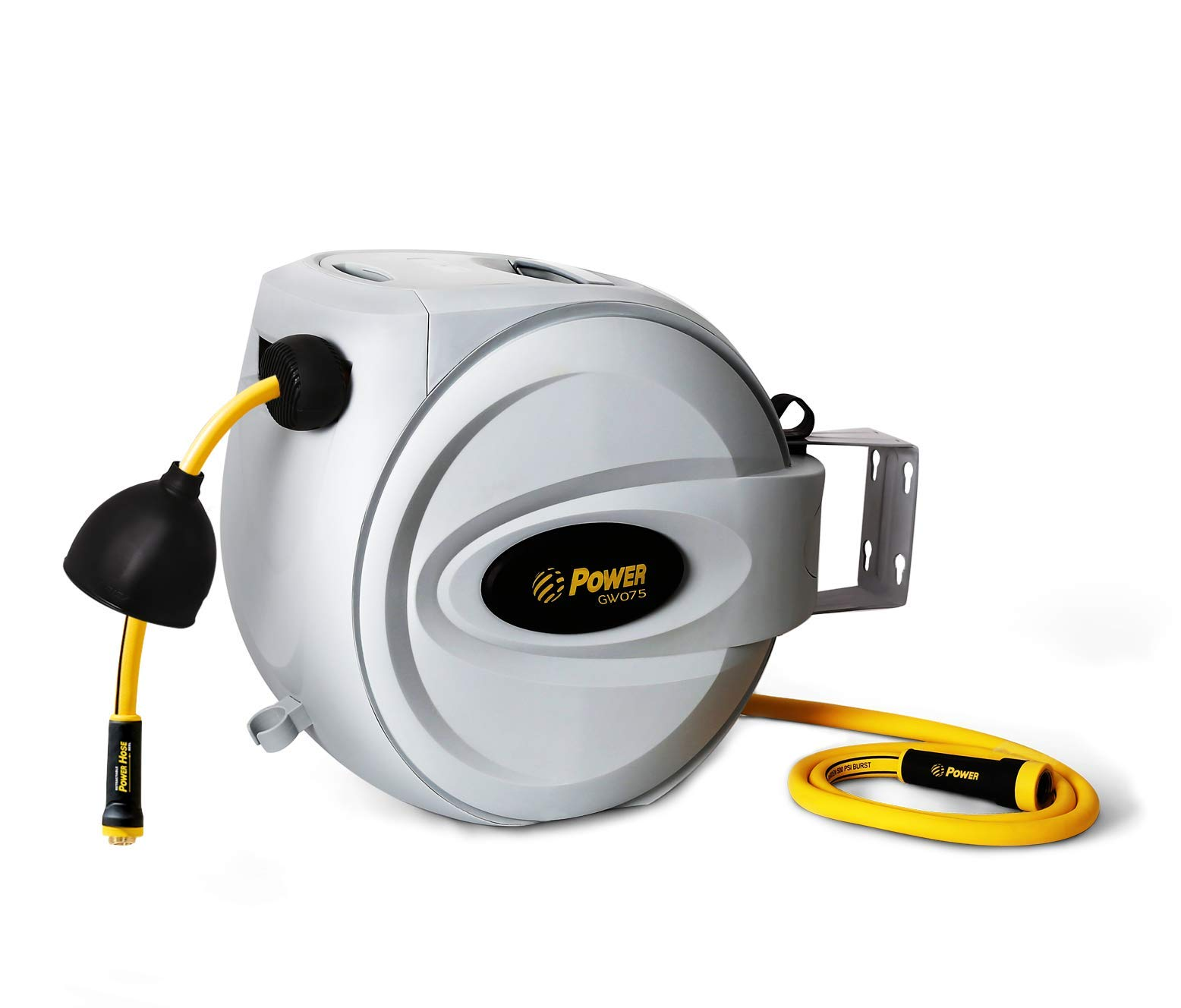 Power Retractable Hose Reel 5/8'' x 75 + 6 FT, Super Heavy Duty, 500 PSI Burst Strength, 3 Layer Hybrid Hose, Slow Return System, Exclusive Twist Collar and The Patented Nozzle Protector by Power Products USA