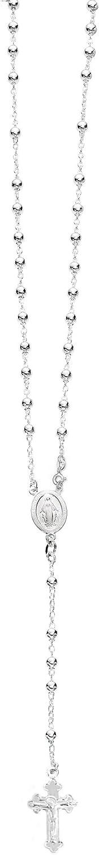 "Ritastephens Italian Sterling Silver 3mm Rosary Bead Virgin Mary Cross Necklace, 20"""