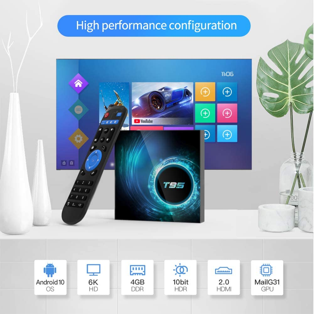 Android 9.0 TV Box up to 2.0 GHz 2Go LPDDR4+8 Go eMMC avec MIMO WiFi // 1080P UI Streaming Adaptador 3D ,4K ,HD H.265 Bo/îtier Android TV Hi3798M V100