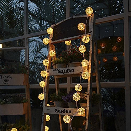 Globe Rattan Ball String Lights, Goodia 13.8feet 40 LED Warm White Fairy Light for Indoor,Bedroom,Curtain,Patio,Lawn,Landscape,Fairy Garden,Home,Wedding,Holiday,Christmas Tree,Party by Goodia (Image #4)