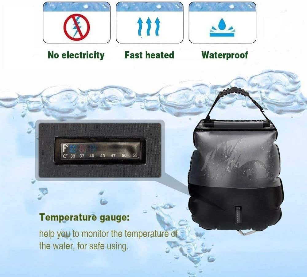 LucaSng Outdoor 5 Gallon // 20 Liter Solar Camping Shower Bag with Detachable Hose and switchable Shower Head Suitable for Camping Trip Hiking Beach Swimming