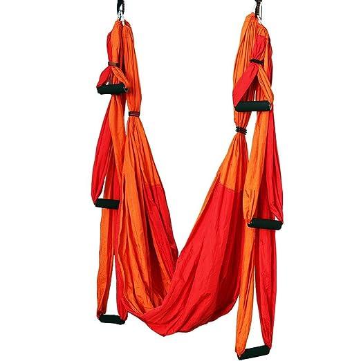 WULAU Hamaca de Yoga de Nailon,Hamaca Correa Volar para Yoga Pilates aérea,250 * 150CM, Teniendo 200KG, Red+Orange