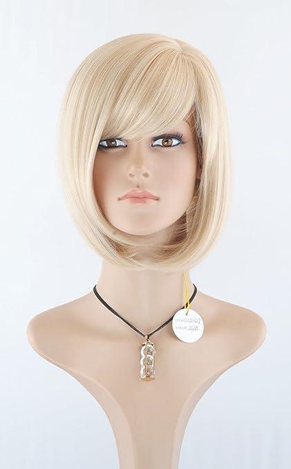 BOB rubia corta el pelo liso resistente al calor peluca de Europa - las mujeres atractivas