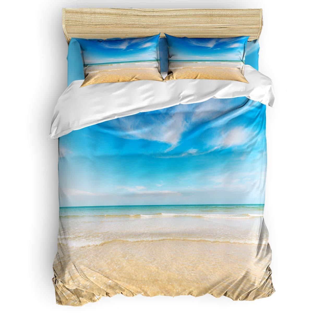 掛け布団カバー 4点セット 夕日のひまわり畑 寝具カバーセット ベッド用 べッドシーツ 枕カバー 洋式 和式兼用 布団カバー 肌に優しい 羽毛布団セット 100%ポリエステル セミダブル B07TF8ZBY1 coastalLAS1822 セミダブル