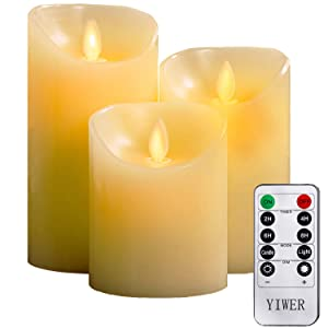 "YIWER Flameless Candles, 4"" 5"" 6"" Set of 3 Real Wax Not Plastic Pillars, Include Realistic Dancing LED Flames and 10-Key Remote Control with 2/4/6/8-hours Timer Function, 300+ Hours (3, Ivory)"