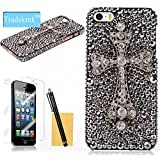 Tradekmk Bling Paillette Cross Hard Case with Stylus Pen, Screen Protector and Cleaning Cloth for Apple iPhone 5 / 5G / 5S