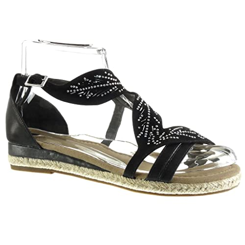 Angkorly - Zapatillas Moda Sandalias Alpargatas Abierto Mujer Flores Perforado Strass Talón Plataforma 3 CM: Amazon.es: Zapatos y complementos