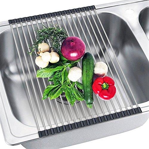shenviz plegable escurreplatos acero inoxidable 304 multiusos resistente al  calor cocina over fregadero escurridor (18.5 19d52f4c3ad7