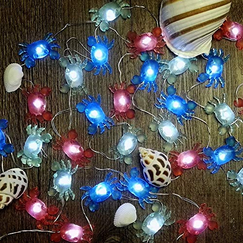 IMPRESS LIFE Marina Theme Christmas Decorative String Lights, Fairy Big Crab Battery-powered, Flexible Wire 10 ft 30 LEDs with Dimmable Wireless Remote Control for Aquarium, Ocean, DIY Home - Seashell Crab