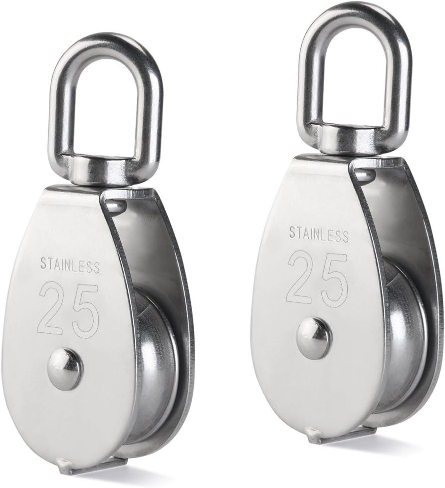 UEETEK 2Pcs 25MM Single Pulley Block in 304 Stainless Steel M25 Pulley Roller Loading 400kg - Silver