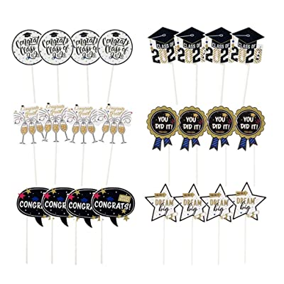 Amosfun 24pcs Cupcake Toppers You Did It Class of 2020 cake Picks Graduation Party Supplies: Toys & Games