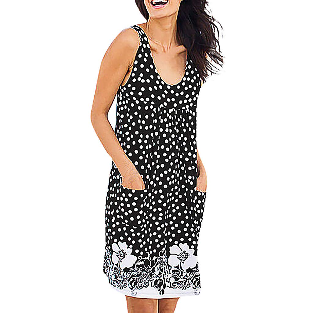 SSYongxia❤ Girls Women's Floral Sleeveless Loose Dresses Casual Sundress Tunic T-Shirt Dresses with Pockets S -XXXXXL Black