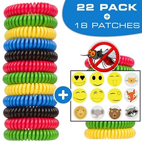 CASELAST Premium Mosquito Repellent Bracelets - 22 Pack - DEET-FREE Natural Wristbands - Protection...