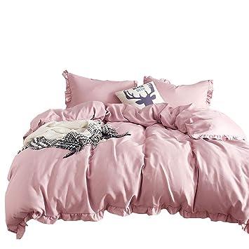 Luofanfei Rüschen Bettwäsche 200x200 Cm Einfarbig Koralle Bettbezug