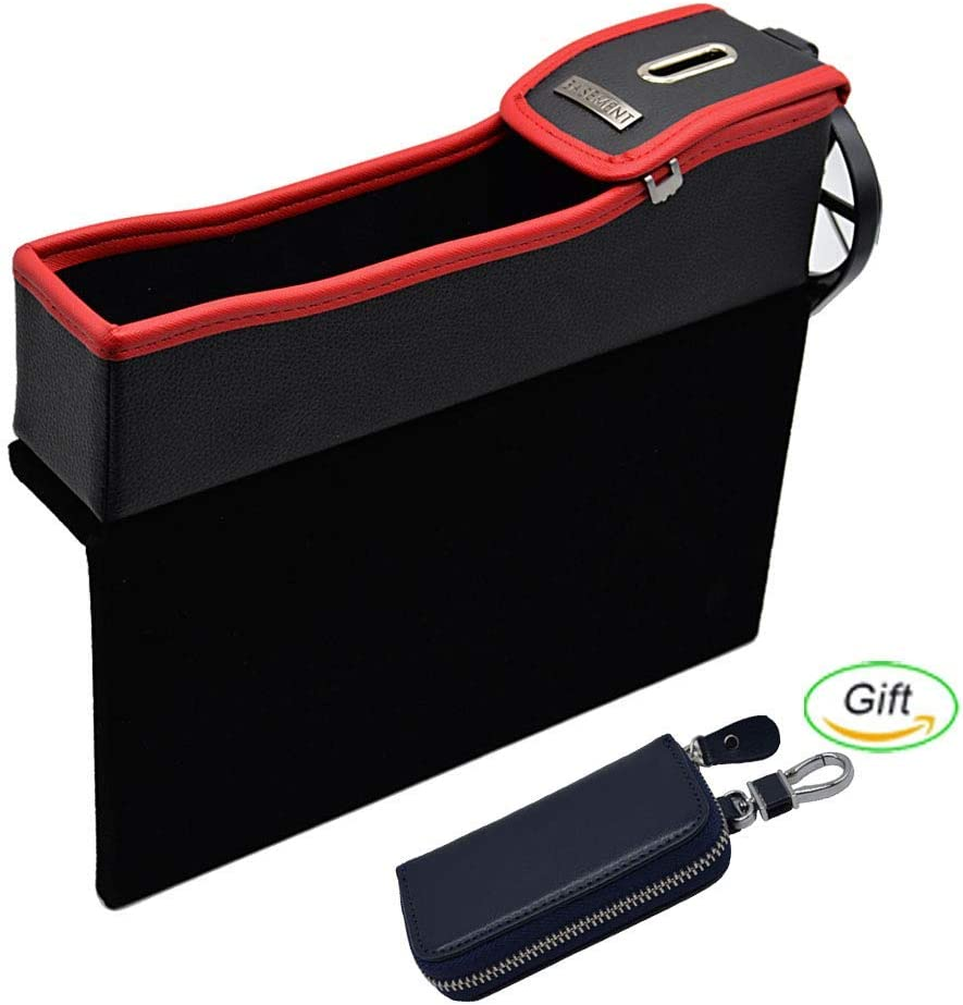 CarGuard Car Seat Side Gap Filler Red, Passenger Side Multi-fuctional Universal Leather Car Seat Organizer Coin and Cup Holder /& Gift Car Key Case