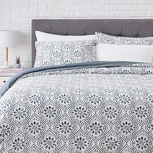 AmazonBasics Super-Soft Cotton Duvet Cover Set - Full/Queen, Blue Textured Ogee
