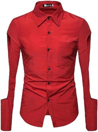 dahuo - Camisa de Vestir para Hombre de Manga Cortada y Corte ...