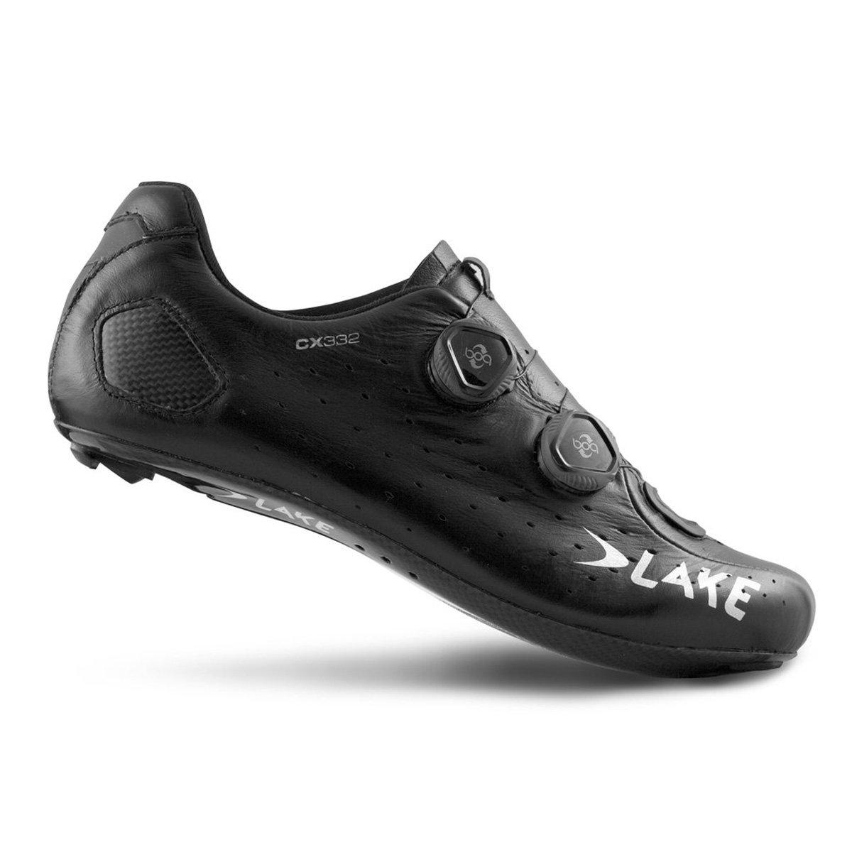 湖Cycling 2017メンズcx332 Road Cycling Shoe – ホワイト B06XNTVDMJ  ブラック/シルバー 43.5