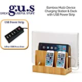 G.U.S. Multi-Device Charging Station Dock & Organizer - Multiple Finishes Available. For Laptops, Tablets, and Phones - Strong Build, Eco-Friendly Bamboo with 4-Port USB Power Strip