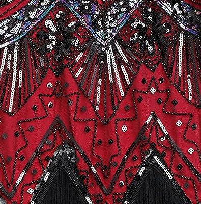 Shelly Women's Flapper Dresses 1920s V-Neck Beaded Sequin Fringed Great Gastby Dress