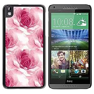 TopCaseStore / la caja del caucho duro de la cubierta de protección de la piel - Watercolor Roses Flower Petals Floral White - HTC DESIRE 816