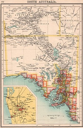 Map Of Australia 1901.Amazon Com South Australia Showing Railways Telegraphs Adelaide